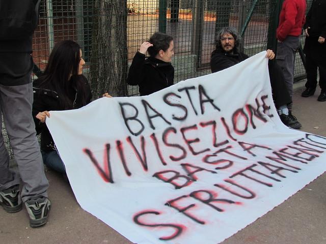 AZIONE CONTRO LA VIVISEZIONE AL SAN RAFFAELE DI MILANO