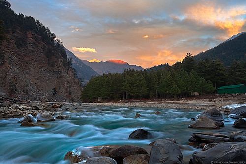 sunset india mountain motion blur composition canon river landscape eos stream glow slow angle wide shutter himalaya incredible ef 1740f4l harsil uttarakhand 5dmarkii 5d2 5dmk2