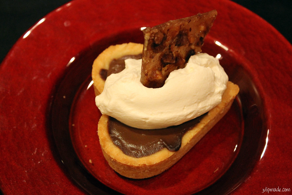 Dark chocolate pie with pecan praline, salted crust, and maple whipped ...