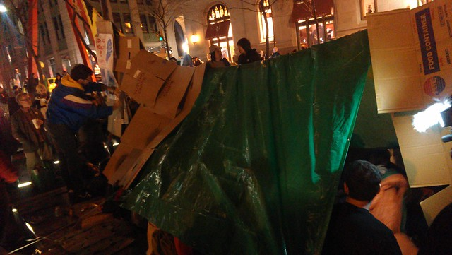 Full view of the tent, which is using the entire Occupy banner now #ows