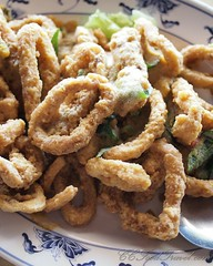 produce(0.0), fried food(1.0), squid(1.0), seafood(1.0), onion ring(1.0), food(1.0), dish(1.0), cuisine(1.0), snack food(1.0),