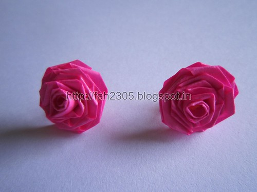 Handmade Jewelry - Paper Rose Earrings (Pink) (1) by fah2305