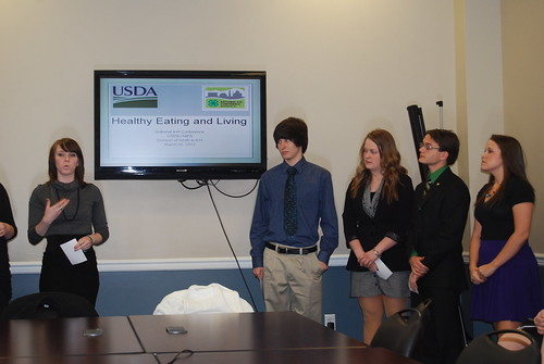 4-H students present their work on implementing Let's Move! in schools at the White House Conference Center.