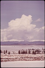 Thunderclouds over grassy plateau, 05/1972.