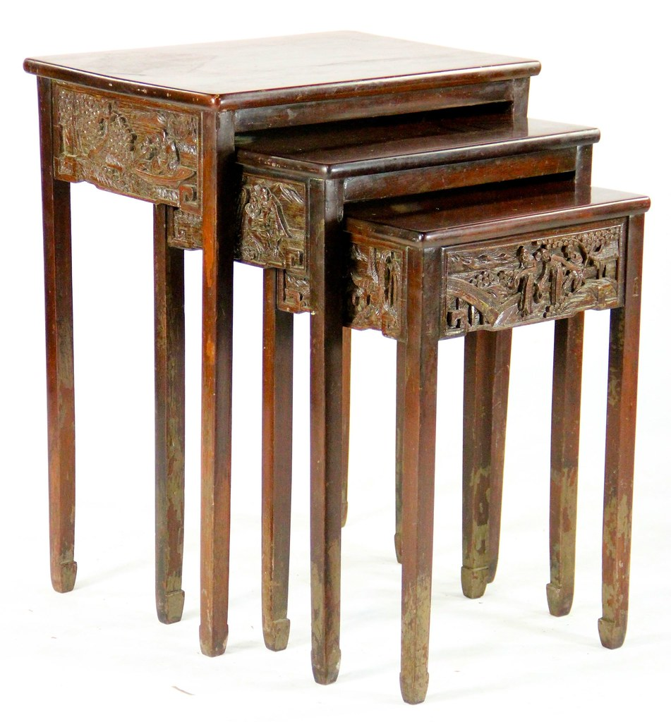 21 Set Of 3 Chinese Carved Wood Nesting Tables
