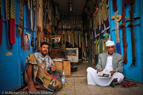 two yemeni guys chewing khat in the afternoon.