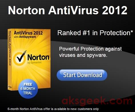 Norton Antivirus 2012 free for 6months