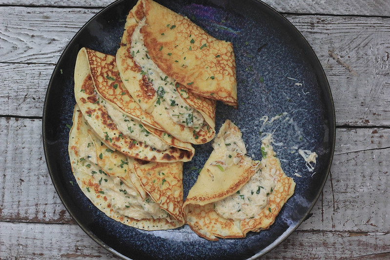 Hot Crab Stuffed Buttermilk Crepes