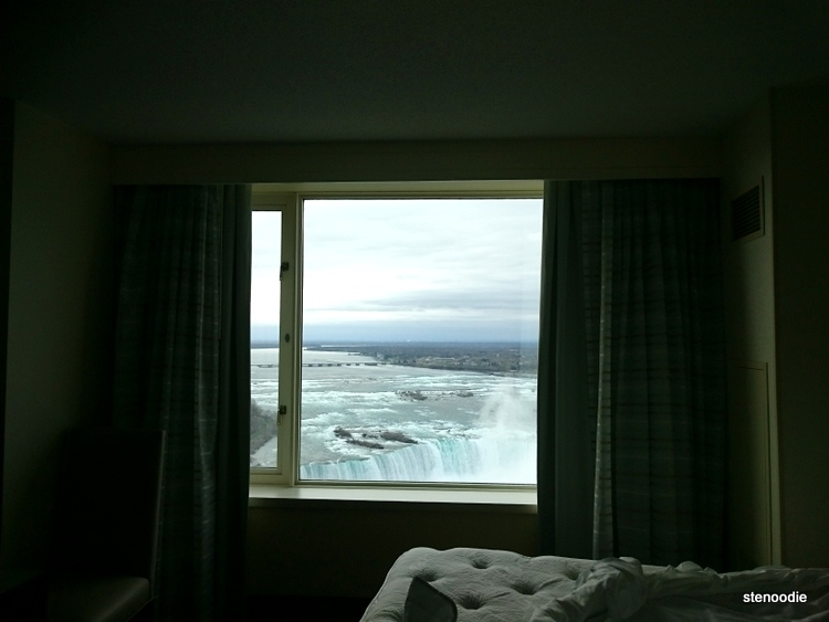 Hotel window overlooking the falls