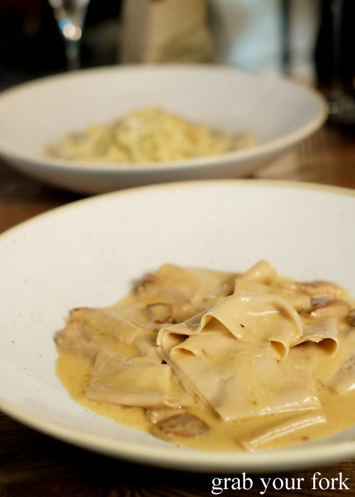 Chestnut pappardelle with a porcini and madeira sauce at Bar Machiavelli in Rushcutters Bay