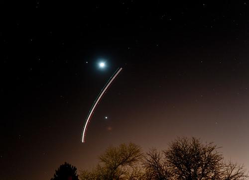 Moon-Jupiter-Venus-Boeing conjunction by bobthemtnbiker