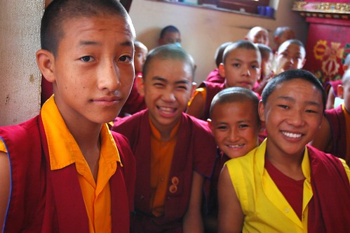 Young Tibetan Buddhist monks smiling and happy, double dorje room, Sakya Lamdre, Tharlam Monastery, Boudha, Kathmandu, Nepal by Wonderlane