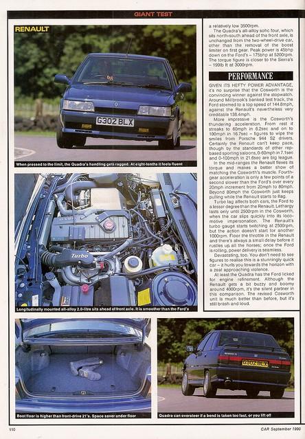 ... Sapphire RS Cosworth 4x4 & Renault 21 Turbo Quadra Twin Road Test 1990