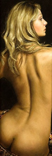 "'Back Study' oil on board 20¼"" x 7½"""