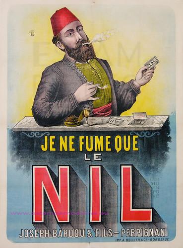 JE NE FUME QUE LE NIL - PAPIER A CIGARETTES JOSEPH BARDAOU ET FILS - PERPIGNAN 101X128 BELIET by estampemoderne.fr