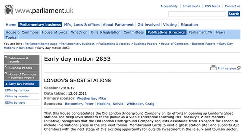 Early Day Motion filed in Parliament for Old London Underground Company