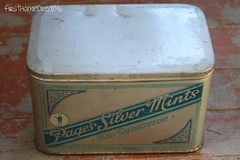 vintage antique page's silver mints tin