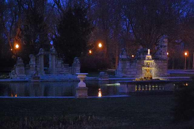 Tower Grove Park, in Saint Louis, Missouri, USA - ruins at dusk