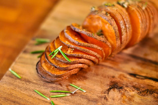 Hasselback Sweet Potatoes with Rosemary and Garlic
