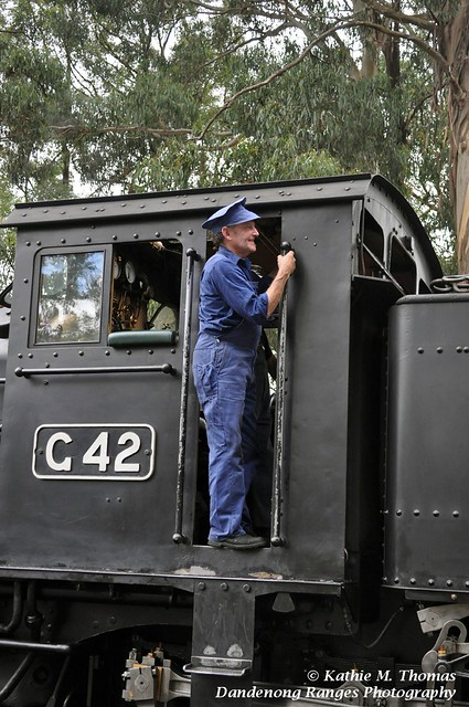 Train driver watching