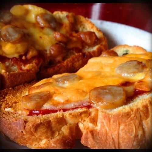 朝食。ピザ風トースト!