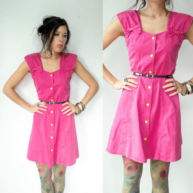 pink denim bow dress