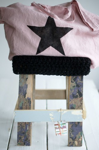 wood & big black wool stool by wood & wool stool