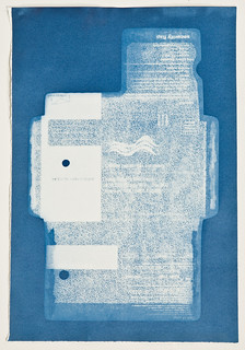 Unfolded Security Envelope Cyanotype Photogram