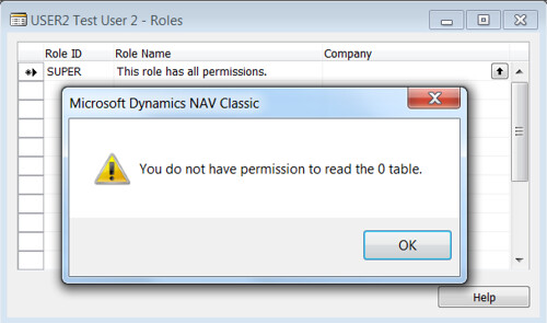 You do not have permission to read the 0 table - Error