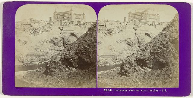 Toledo desde el Arroyo de la Degollada. Fotografía estereoscópica de Jean Andrieu en 1868 con número de serie 2656