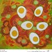 Eggs in Piquant Sauce food painting for the vegetarian recipes cookbook by Australian artist Fiona Morgan