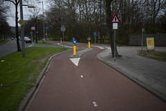 Rotterdam Cycle Track and Entrance to Petrol Station
