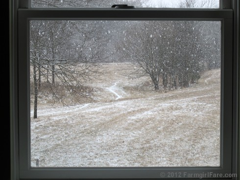 Snowfall through the upstairs windows 5 - FarmgirlFare.com