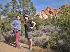 Rachel and Clare Hiking White Rock La Madre Springs Loop