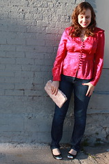 Magenta outfit: Marc by Marc Jacobs Edwardian-inspired silk blouse, Gap straight-leg jeans, Topshop metal-capped leather ballet flats, pearls, rosette clutch