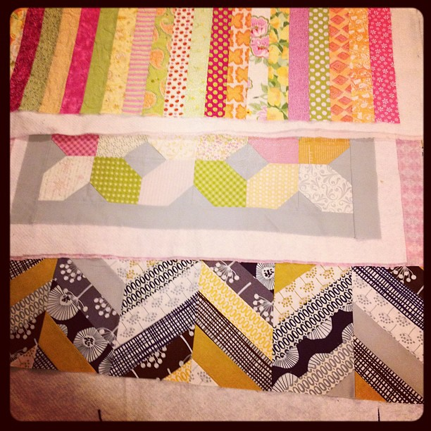 Goal: to quilt & bind 3 quilts tonight! The top one is already quilted!