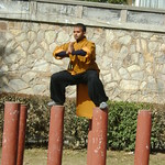SHIFU KANISHKA TRAINING IN SHAOLIN TEMPLE IN MABU ON POLES WWW.SHAOLININDIA.COM Shaolin Kung Fu India