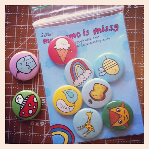 Filling out Etsy orders for lots of buttons!