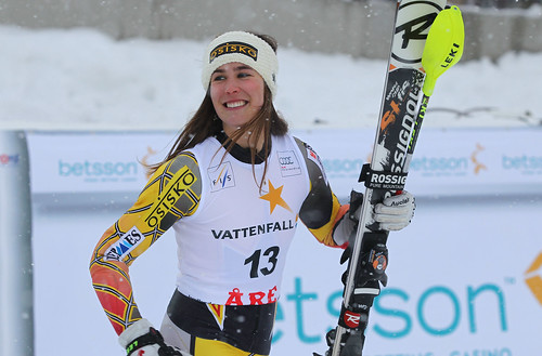 Marie-Michèle Gagnon all smiles after finishing third in World Cup slalom in Are, Sweden.