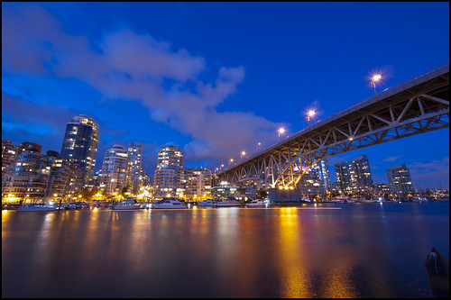 city longexposure blue sky urban canada night vancouver clouds reflections gold lights golden evening twilight downtown apartments cityscape bc britishcolumbia towers yaletown falsecreek bluehour granvilleisland condos granvillestreetbridge olympusep1 panasoniclumix714mmf40