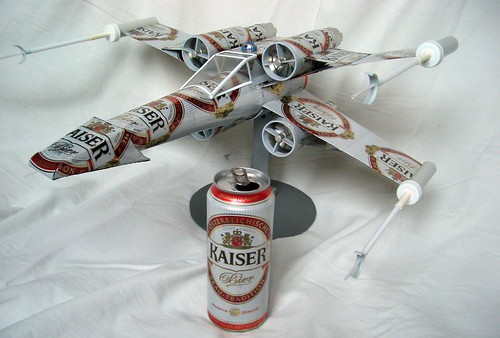 recycling art,beer can plane,x-wing
