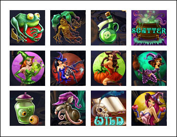 free Wild Witches slot game symbols