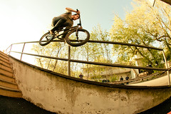 Shane Buell sliding a virgin handrail on his first trip to Syracuse.