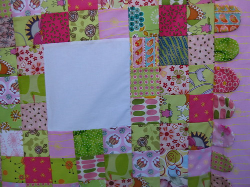 Close up of the pink and green quilt by Linseed2010