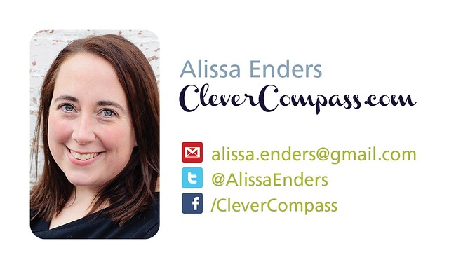 Alissa Enders' CleverCompass.com business card, back