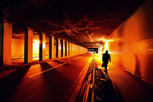 A Man walking in the Tunnel by hidesax