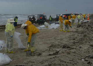 Response crews continue cleanup operations on South Matagorda Island, Texas, April 5, 2014. Coordination between oil recovery crews, U.S. Fish and Wildlife, Texas Parks and Wildlife, U.S. Coast Guard and the Texas general land Office has been critical to balancing the expediency of clean-up efforts with the special sensitivity of protecting wildlife and the island's fragile environment. U.S. Coast Guard photo by Petty Officer 2nd Class George Degener.