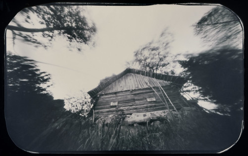 pinhole obscura stenope paper film orthochromatic 6x9 photocopyfilm analogue d76 wide wideangle depthoffield architecture building wooden old countryside šinkūnai tauragnai utena lithuania grass trees motion movement witch house sky bw blackandwhite monochrome mediumformat rounded landscape inexplore