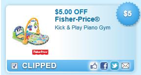 $5.00 Off Fisher-price Kick & Play Piano Gym Coupon
