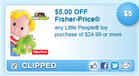 $5.00 Off Any Little People Toy Coupon